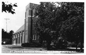 Depew New York~St James Roman Catholic Church~Erie County~1950s RPPC-Postcard