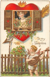 F39/ Valentine's Day Love Holiday Postcard c1910 Gold Woman Cupid 6