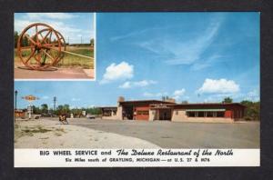 MI Big Wheel Sunoco Gas Station Sign Restaurant Grayling Michigan Postcard