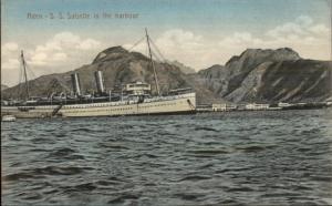 Aden - SS Steamship Salsette in Harbour c1910 Postcard