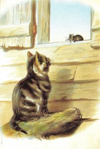 Postcard Art, Cat and Mouse #377