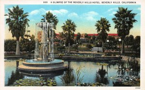 A Glimpse of the Beverly Hills Hotel, Beverly Hills, CA, Early Postcard, Used