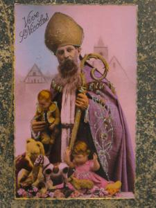 French Christmas Cleric Santa Claus Tinted Glitter Real Photo Postcard myn