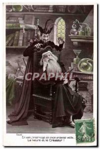 Old Postcard Fancy Devil Magician