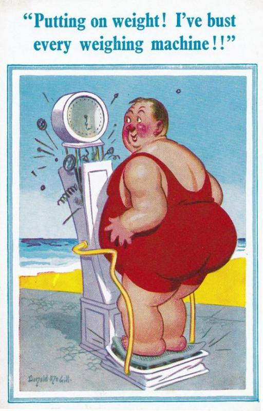 Huge Fat Lady Needs a Diet Breaks Speak Your Weight Scales Comic Humour Postcard