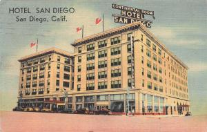 Hotel San Diego, San Diego, California, Early Postcard, Used in 1947
