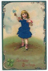 Birthday Greetings Girl Holding Blue Flowers Silk Dress Add On PC JJ658859