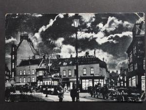 Kent: Dover, Market Square at Night by Moonlight c1904 shows Busy Street & Tram