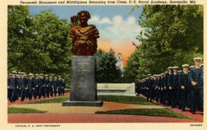 U.S. Military, U.S. Navy. U.S. Naval Academy, Annapolis, MD. Tecumseh Monumen...
