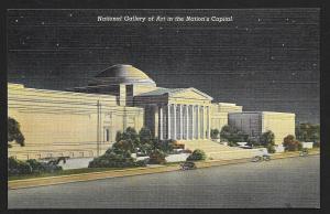 National Art Gallery @ Nite Washington DC unused c1940's