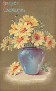 Yellow flowers in vase , Heartiest Congratulations , PU-1909