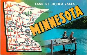 Minnesota MN Land of 10,000 Lakes Map Chrome Postcard