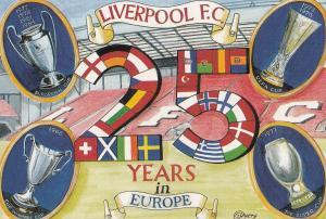 Liverpool Football Club 25 Years Of European Football 1990s Painting Postcard