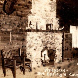 c1915 RPPC Fireplace Interior Hot Springs Country Club AR O'Neill Real Photo