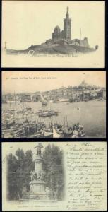 france, MARSEILLE, 3 Old Postcards, Old Harbour, Church