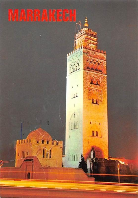 Morocco Marrakech, The Minaret of the Koutoubia by Night