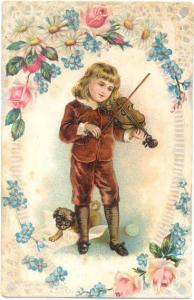 Young Person Playing the Violin.  Nothing printed on back