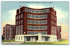 Postcard IN Anderson St. John's Hospital New Addition Vintage Linen A20
