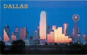 Dallas Texas~Skyline Lights~Reunion Tower @ Night 1950s Postcard