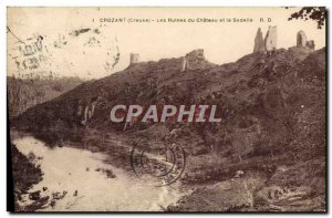 Old Postcard Crozant The ruins of the castle and Sedelle