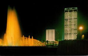 Florida Jacksonville Friendship Fountain Gulf Life Tower & Hilton Hotel At Night