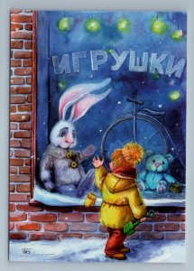 LITTLE KID and BUNNY RABBIT in Toy Store Teddy Bear Bike Russian New Postcard