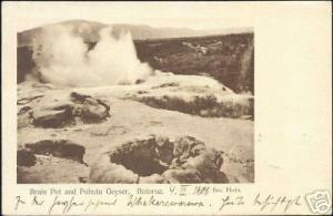 new zealand ROTORUA, Brain Pot and Pohutu Geyser (1906)