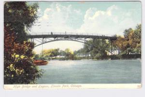 PPC  POSTCARD ILLINOIS CHICAGO LINCOLN PARK HIGH BRIDGE AND LAGOON