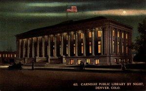 Colorado Denver Carnegie Public Library By Night