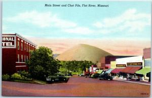 Flat River, Missouri Postcard Main Street & Chat Pile Curteich Linen c1940s
