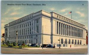 Cincinnati OH Postcard Hamilton County Court House Street View Linen 1943 Cancel