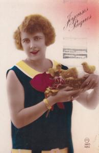 RP: Woman w/chicks , Joyeuses Paques [Easter] , PU-1933