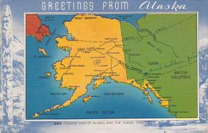 Greetings From Alaska Tourist Map Of Alaska and Yukon Territory