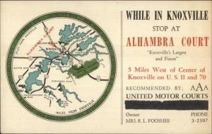 Knoxville VA Alhambra Court Advert Nice Area MAP c1940 Postcard