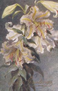 Raphael Tuck & Sons´, #9505: 1900-1910's; Easter Greetings, Auratum Lilies