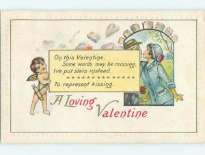 Divided-Back valentine CUPID AND KISSING COUPLE r4127