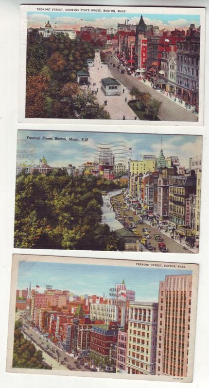 P288 JL 3 postcards 1930-45 tremont street boston mass