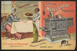 VICTORIAN TRADE CARD Model Grand Range Black Waiter Serving Uncle Sam Dinner Cat