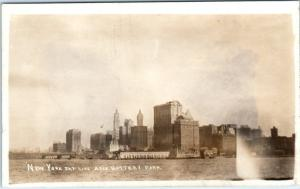 RPPC  New York City NY    SKYLINE and BATTERY PARK from Water  c1910s   Postcard
