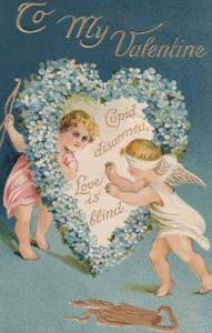 Cupid Blind Beautiful Raised Heart Old Valentines Day Postcard