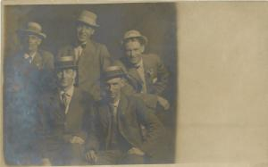 5 Men, 4 Wear Boater Hats~RPPC 1907 Uncanceled Capt John Smith Stamp