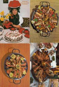 Paella Seafood 4x Recipe & Continental Dish Postcard s