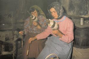 Portugal Women Crafts Wool Sewing Spinning Wheel Postcard