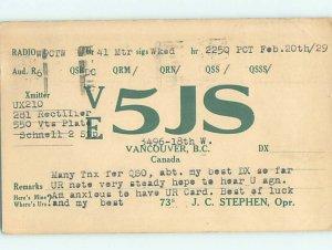 1920s QSL RADIO CARD Vancouver British Columbia BC AH3141