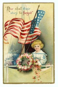 MEMORIAL DAY*PATRIOTIC*AMERICAN FLAG*WREATH**ELLEN CLAPSADDLE*ANTIQUE POSTCARD