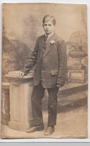 Edwardian Teenager In Sunday Best Suit, Studio Portrait RP PPC