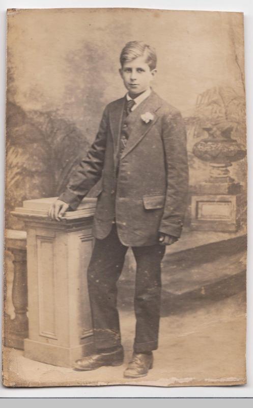 Edwardian Teenager In Sunday Best Suit, Studio Portrait RP PPC