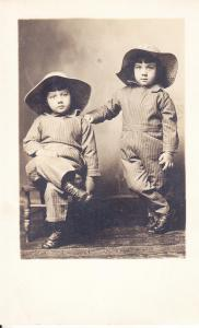 A Charming Pair of Twins in Coveralls - Real Photo