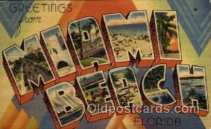 Miami Beach, Florida Large Letter Town Towns Post Cards Postcards  Miami Beac...