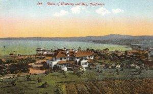 View of Monterey & Bay, California c1910s Mitchell Vintage Postcard